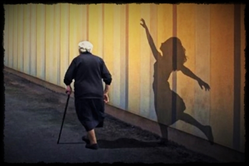 old woman & shadow of lady
